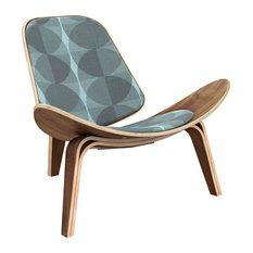 Walnut Shell Chair, Blue Vision