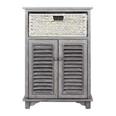 22-inchx14-inchx32-inch Gray Wood Mdf Water Hyacinth 1-Basket 2-Door Cabinet