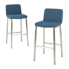 36 inch bar stools. GDFStudio - Santino Blue Fabric Bar Stools, Set Of 2 Stools And Counter 36 Inch O