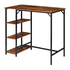 Industrial Bar Height Dining Table, Rustic Brown Top and Side Shelves