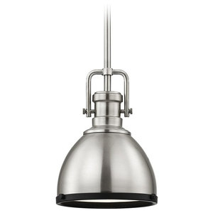 Industrial Metal Mini-Pendant Satin Nickel and Black 7.38-Inch Wide
