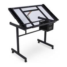 Belleze - Art Craft Drawing Table, Black/Clear Glass - Drafting Tables