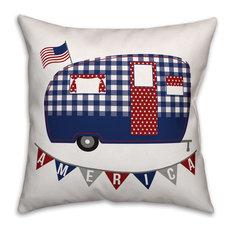 """Patriotic Camper Indoor/Outdoor Pillow, 18""""x18"""""""
