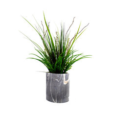 """Grass and Curly Willow in Oval Marble-Look Container, 32"""""""
