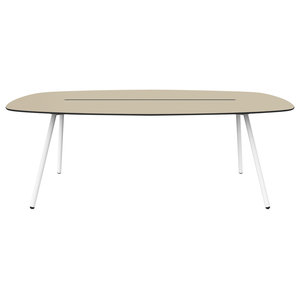 Medium A-Lowha Long Board Table, Sand, White Frame