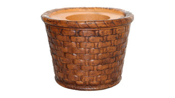 "13"" Tall Brown Weave FiberStone Pot, Brown"