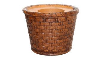 "13"" Tall Brown Weave FiberStone Pot, Brown"