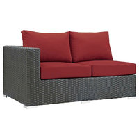 Modern Outdoor Lounge Loveseat Sofa, Sunbrella Rattan Wicker, Red