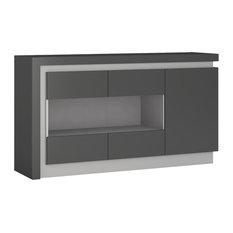 3-Door Glazed Sideboard, Including LED Lighting, Light Grey