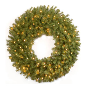 """Norwood Fir Wreath With Battery Operated Warm White LED Lights, 30"""""""