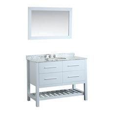 43'' Single Vanity With Carrara White Top White