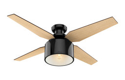 "Hunter Fan Company 52"" Cranbrook Low Gloss Black Ceiling Fan w/ Light/Remote"