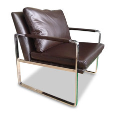 MangoHome   Harvey Modern Full Grain Italian Leather Accent Chair,  Chocolate Brown   Armchairs And