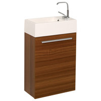 """Fresca Pulito 16"""" Small Teak Vanity With Integrated Sink"""