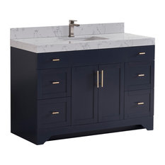 "48"" Vanity Wood Body and Quartz White, Marine Blue"