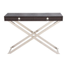 Amazing Woodland Imports   Sleek Wood Console Table Shape Brown Family Furniture  Decor   Console Tables