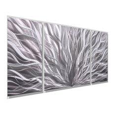 Jon Allen Fine Metal Art - Silver Modern Contemporary 3-Panel Metal Wall Art, Silver Flourish III - Metal Wall Art