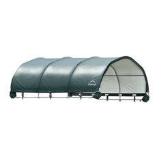 "12'x12' Corral Shelter - Powder Coated 1-5/8"" Steel Frame, 9oz., Green PE"