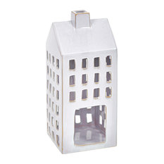 Sagebrook Home White Ceramic House Lantern 18.75""