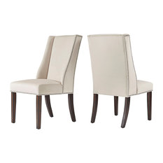 Constance Velvet Wingback Dining Chair with Nailheads, Set of 2, Beige