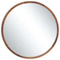 """30"""" Round Wood Mirror, Walnut Brown"""