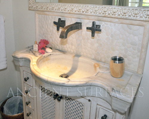 Antique Reclaimed Inlayed Marble And Stone Sink For Master Bathrooms U0026  Powder 2   Bathroom Sinks