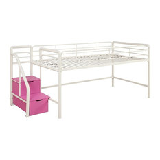 Contemporary Twin Metal Loft Bed With Storage Steps Ideal Space Saving Solution