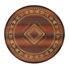 Aspire Southwest Lodge Red and Beige Rug, 6' Round
