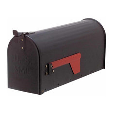 """MAIL"" Black Rural Mailbox Solid Brass"