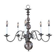 "Framburg 9125 Jamestown 5 Light 29"" Taper Candle Chandelier, Mahogany Bronze"