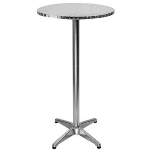 Traditional Round Bistro Bar Table, Aluminium With 2 Adjustable Heights