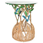 Jo-Liza International - Aspen Table - tall end table with birs and leaves and fern bse in multi colored seagrass with glass top