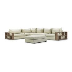 Soriano Wooden Arm Left Chaise L Shaped Sectional With Ottoman In Beige Fabric
