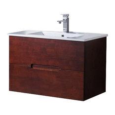 "Wall Mount Bathroom Vanity Elton 32"" with Porcelain Sink Top, Dark Walnut"
