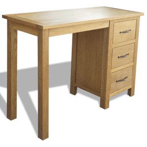 vidaXL Desk With 3 Drawers, Oak, 106x40x75 cm