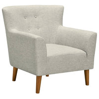 Wide Back Upholstered Accent Chair, Beige