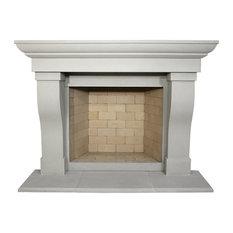 Berkley Cast Stone Fireplace Mantel, Pearl