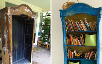 Project Rehab: Water-Damaged Wardrobe to Bright Blue Bookcase