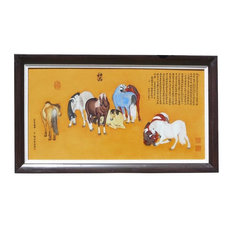 Chinese Porcelain Eight Horses Painting Wall Decor