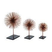 """Metal 3D Copper Star Decor, 3-Piece Set, 10"""", 13"""", 17"""""""