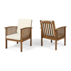 GDF Studio Ray Acacia Outdoor Acacia Club Chairs, Brown Patina/Cream, Set of 2