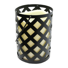 """7"""" Black Metal Criss Cross Lantern with Bisque LED Flameless Indoor Candle"""