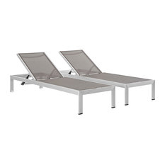 Shore Chaise Outdoor Aluminum, Set of 2, Silver Gray