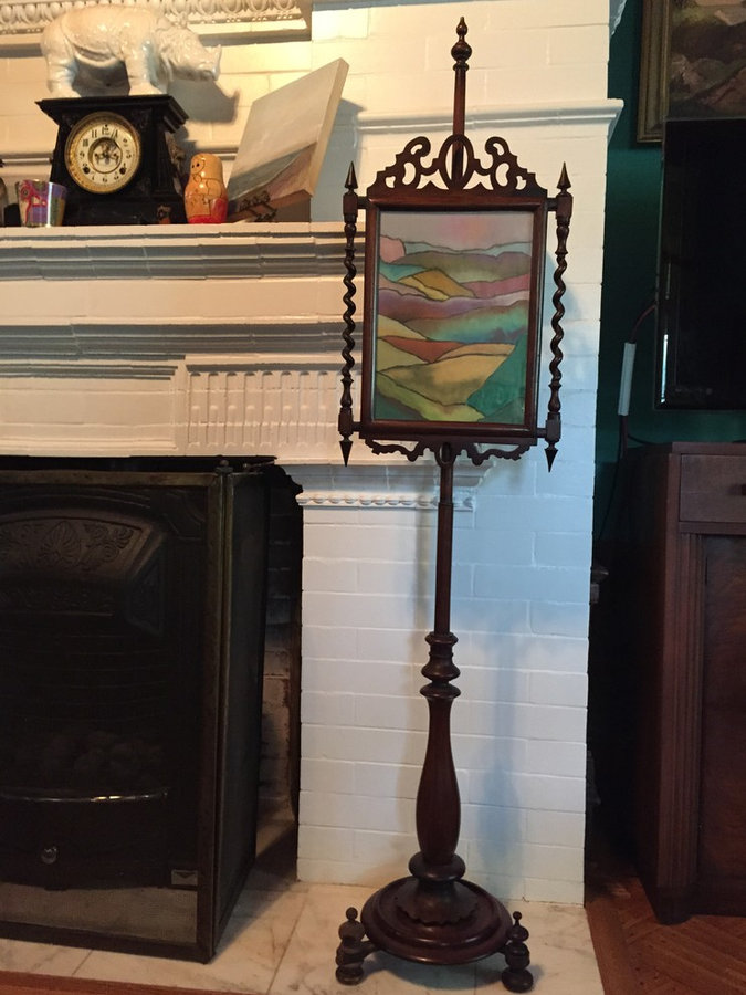 "Victorian Fireplace Screen with Pastel ""Sand"" Drawing"