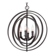 """Kira Home Orbits 18"""" 4-Light Sphere/Orb Pendant Chandelier,, 18"""" Bronze"""