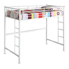 Walker Edison Twin Metal Loft Bed - White - BTOLWH