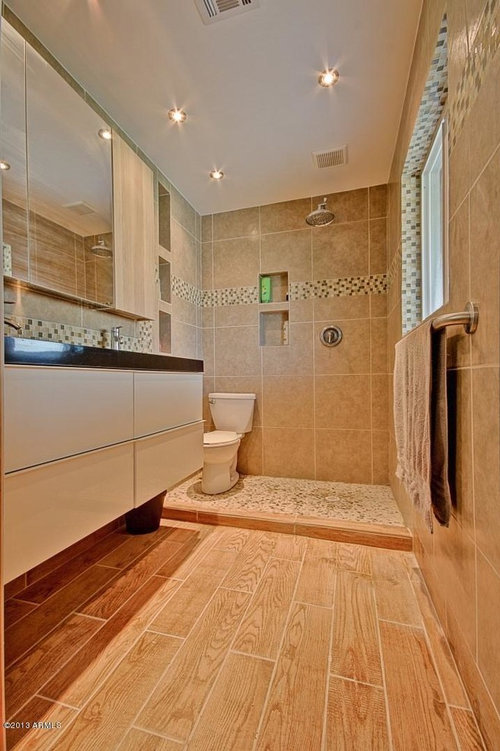 ... And Now The Toilet Is In The Shower. What Suggestions Would You Have To  Remedy The Situation? Close Proximity To Vanity, Would You Put A Half Tile  Wall?