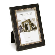 "Lucca Antique Frame, Black With  Silver Beads, 5""x7"""