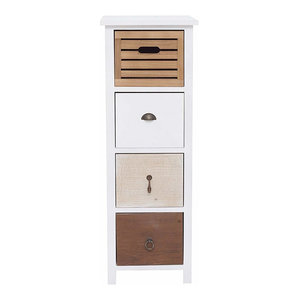 Modern Chest of Drawers in White MDF with 4 Mix Coloured Storage Drawers