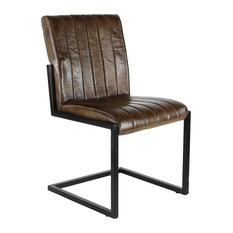 """Rustic 35""""x20"""" Leather And Iron Armless Chair"""